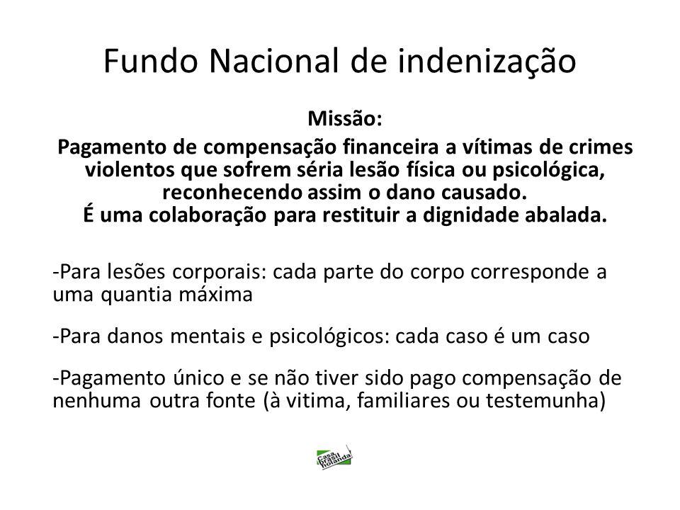 Fundo Nacional de indenização Missão: Pagamento de compensação financeira a vítimas de crimes violentos que sofrem séria lesão física ou psicológica,