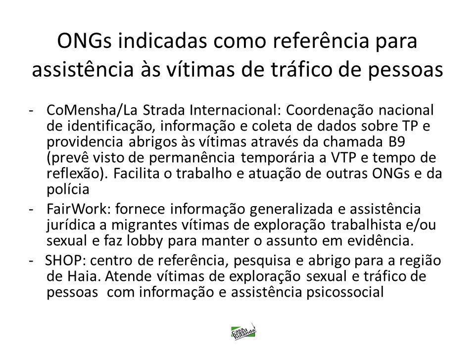 ONGs indicadas como referência para assistência às vítimas de tráfico de pessoas -CoMensha/La Strada Internacional: Coordenação nacional de identifica