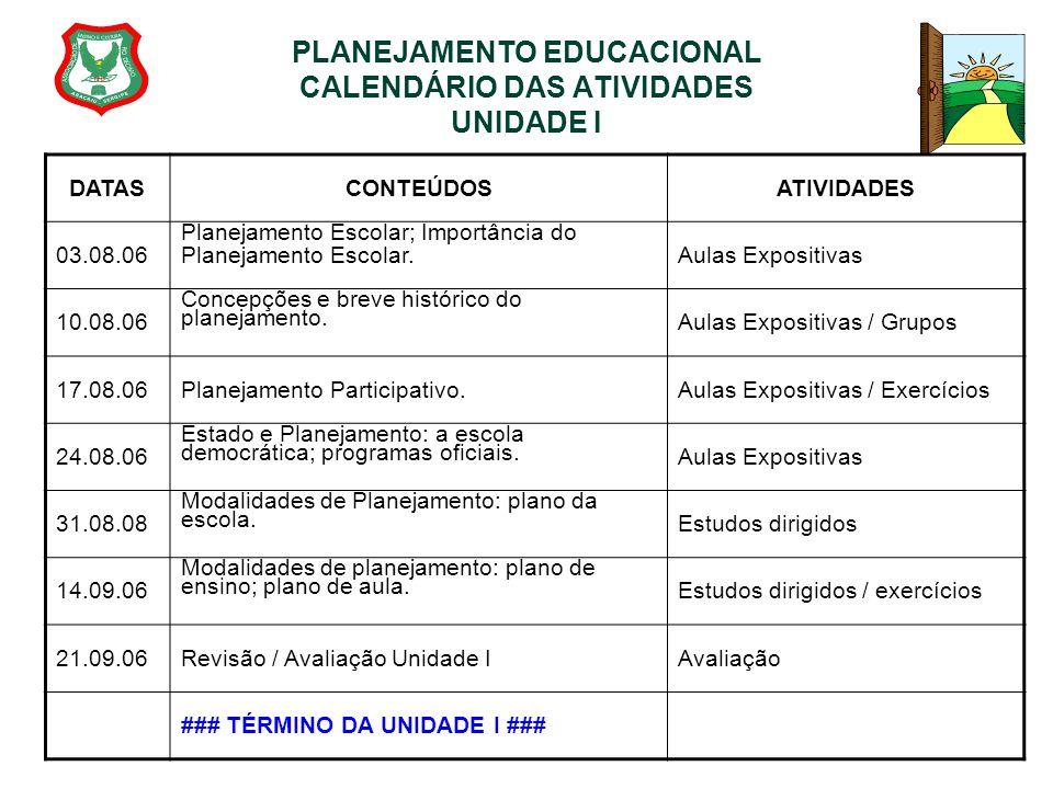 PLANEJAMENTO EDUCACIONAL CALENDÁRIO DAS ATIVIDADES UNIDADE I DATASCONTEÚDOSATIVIDADES 03.08.06 Planejamento Escolar; Importância do Planejamento Escol