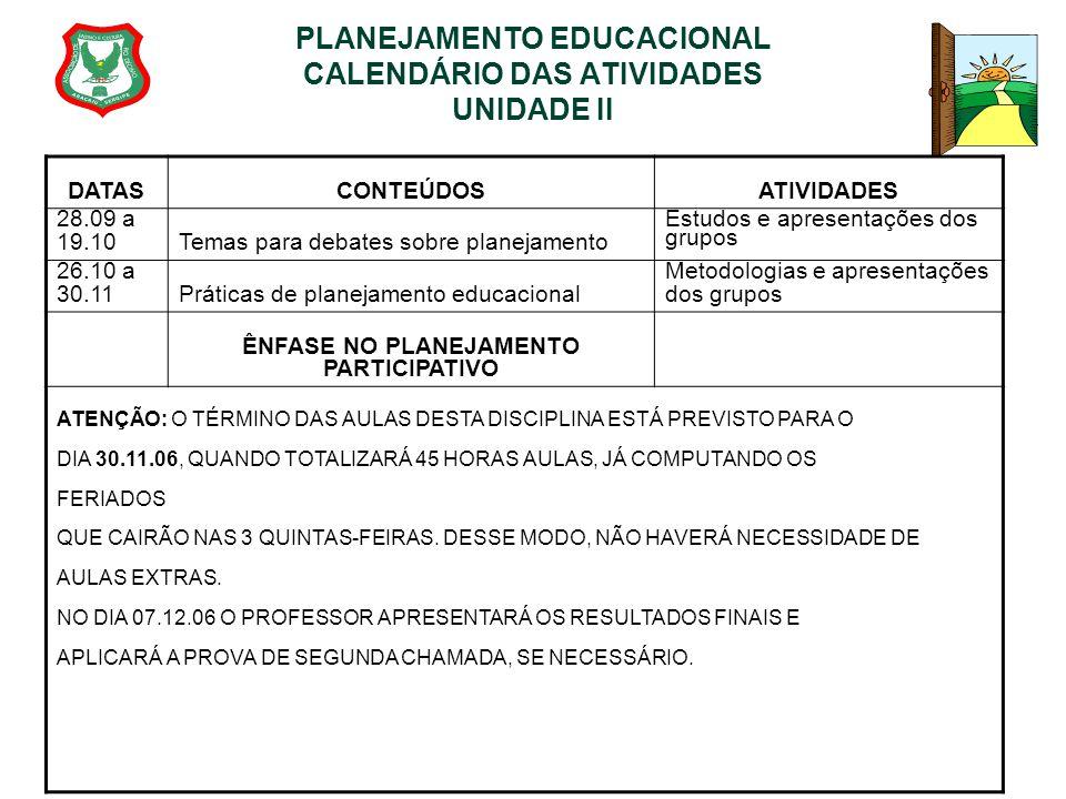 PLANEJAMENTO EDUCACIONAL CALENDÁRIO DAS ATIVIDADES UNIDADE II DATASCONTEÚDOSATIVIDADES 28.09 a 19.10Temas para debates sobre planejamento Estudos e ap