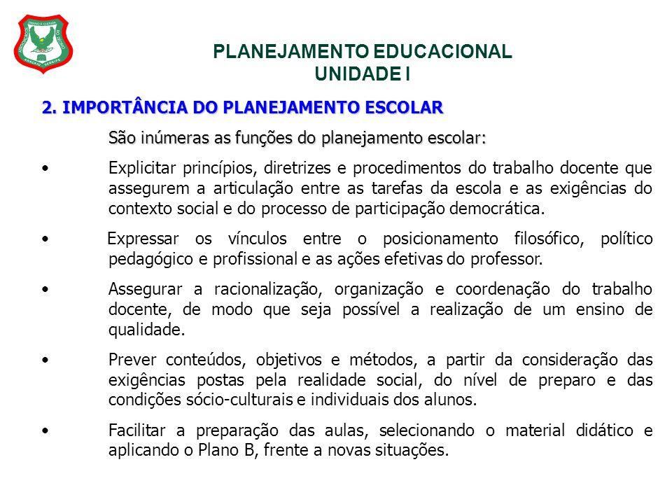 PLANEJAMENTO EDUCACIONAL UNIDADE I 2. IMPORTÂNCIA DO PLANEJAMENTO ESCOLAR São inúmeras as funções do planejamento escolar: Explicitar princípios, dire