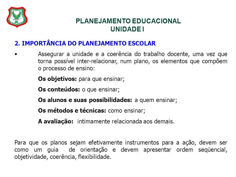PLANEJAMENTO EDUCACIONAL UNIDADE I 2. IMPORTÂNCIA DO PLANEJAMENTO ESCOLAR Assegurar a unidade e a coerência do trabalho docente, uma vez que torna pos