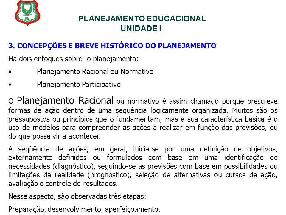 PLANEJAMENTO EDUCACIONAL UNIDADE I 3. CONCEPÇÕES E BREVE HISTÓRICO DO PLANEJAMENTO Há dois enfoques sobre o planejamento: Planejamento Racional ou Nor