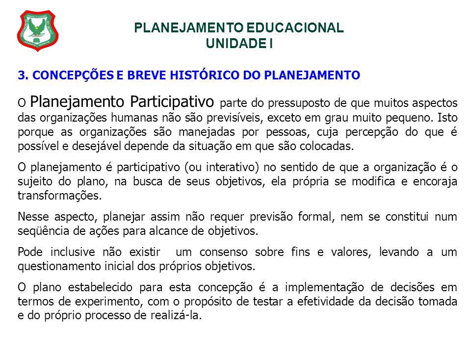 PLANEJAMENTO EDUCACIONAL UNIDADE I 3. CONCEPÇÕES E BREVE HISTÓRICO DO PLANEJAMENTO O Planejamento Participativo parte do pressuposto de que muitos asp