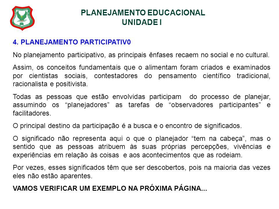 PLANEJAMENTO EDUCACIONAL UNIDADE I 4. PLANEJAMENTO PARTICIPATIV0 No planejamento participativo, as principais ênfases recaem no social e no cultural.