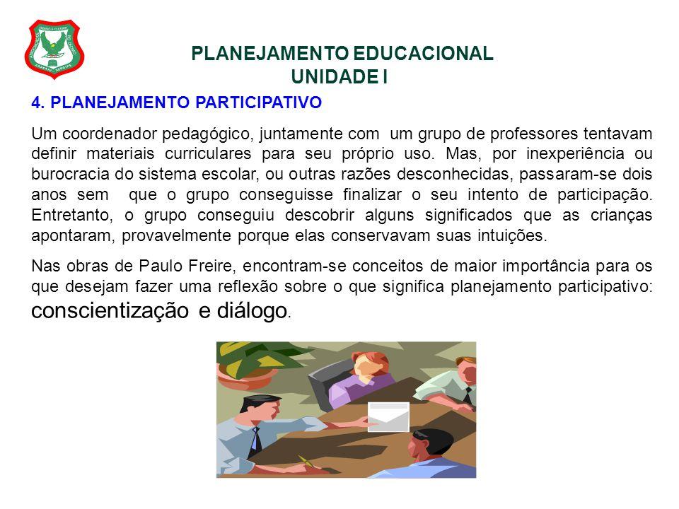 PLANEJAMENTO EDUCACIONAL UNIDADE I 4. PLANEJAMENTO PARTICIPATIVO Um coordenador pedagógico, juntamente com um grupo de professores tentavam definir ma