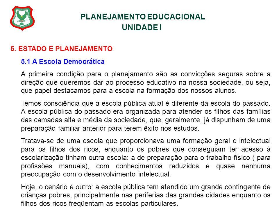 PLANEJAMENTO EDUCACIONAL UNIDADE I 5. ESTADO E PLANEJAMENTO 5.1 A Escola Democrática A primeira condição para o planejamento são as convicções seguras