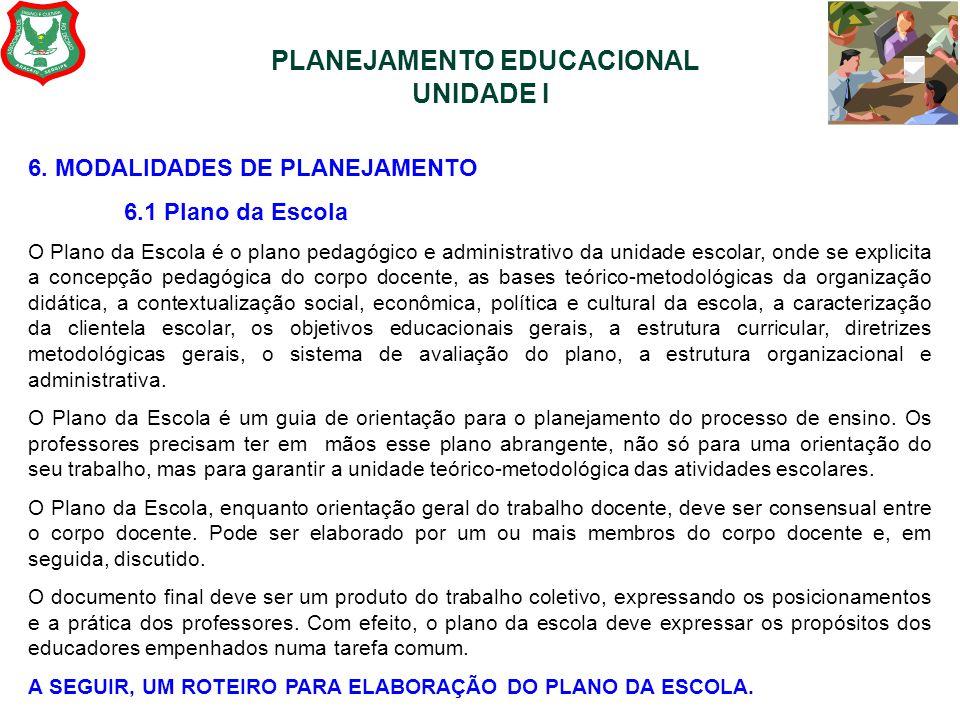 PLANEJAMENTO EDUCACIONAL UNIDADE I 6. MODALIDADES DE PLANEJAMENTO 6.1 Plano da Escola O Plano da Escola é o plano pedagógico e administrativo da unida