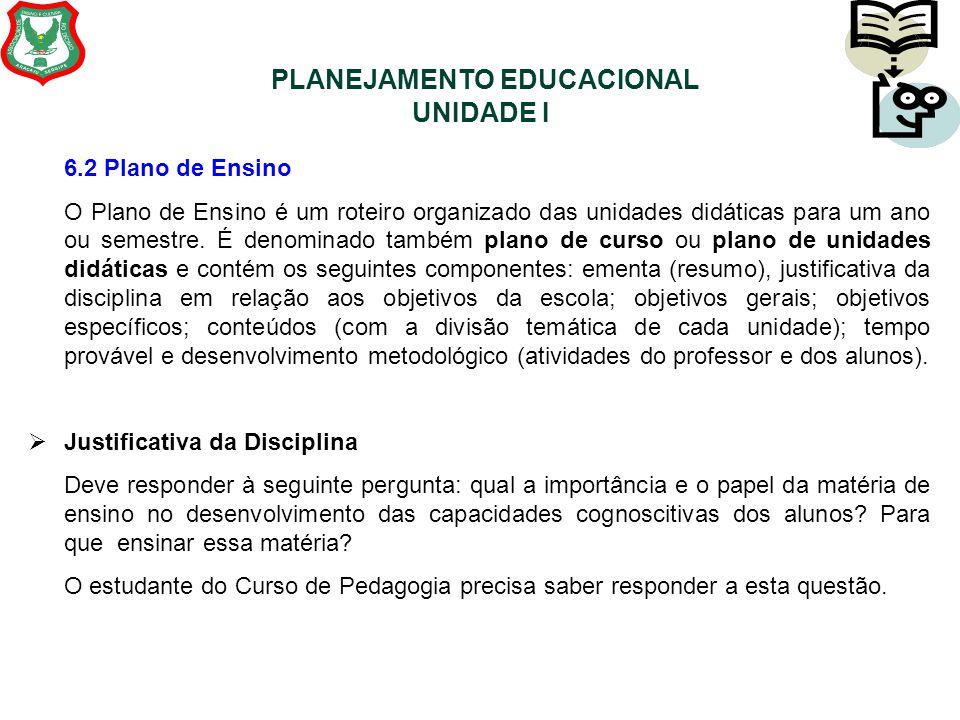 PLANEJAMENTO EDUCACIONAL UNIDADE I 6.2 Plano de Ensino O Plano de Ensino é um roteiro organizado das unidades didáticas para um ano ou semestre. É den