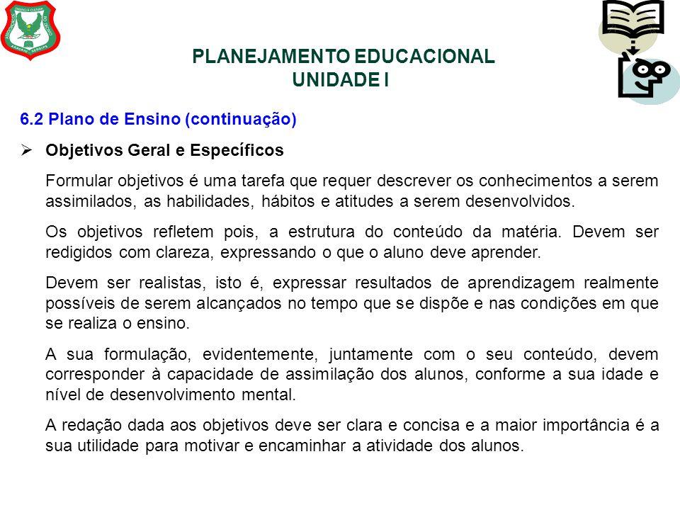 PLANEJAMENTO EDUCACIONAL UNIDADE I 6.2 Plano de Ensino (continuação)  Objetivos Geral e Específicos Formular objetivos é uma tarefa que requer descre