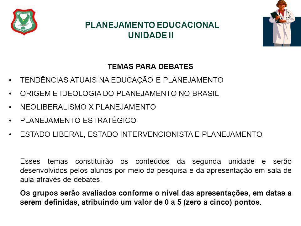 PLANEJAMENTO EDUCACIONAL UNIDADE II TEMAS PARA DEBATES TENDÊNCIAS ATUAIS NA EDUCAÇÃO E PLANEJAMENTO ORIGEM E IDEOLOGIA DO PLANEJAMENTO NO BRASIL NEOLI