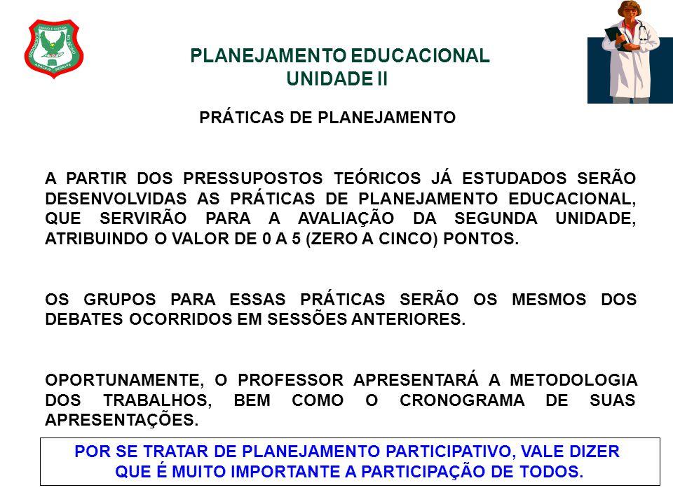 PLANEJAMENTO EDUCACIONAL UNIDADE II PRÁTICAS DE PLANEJAMENTO A PARTIR DOS PRESSUPOSTOS TEÓRICOS JÁ ESTUDADOS SERÃO DESENVOLVIDAS AS PRÁTICAS DE PLANEJ
