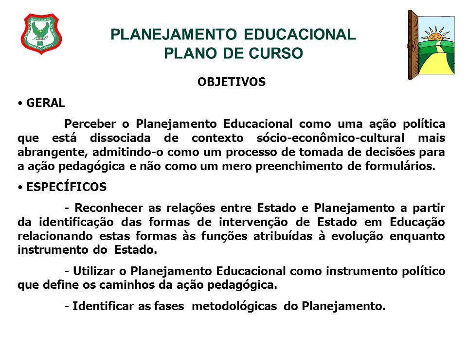 PLANEJAMENTO EDUCACIONAL PLANO DE CURSO OBJETIVOS GERAL Perceber o Planejamento Educacional como uma ação política que está dissociada de contexto sóc