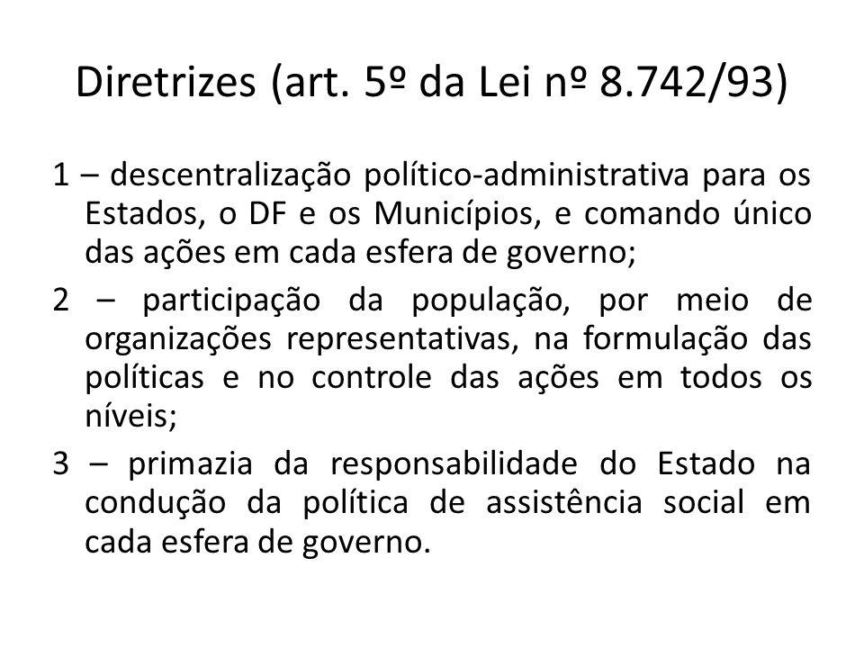 Diretrizes (art. 5º da Lei nº 8.742/93) 1 – descentralização político-administrativa para os Estados, o DF e os Municípios, e comando único das ações