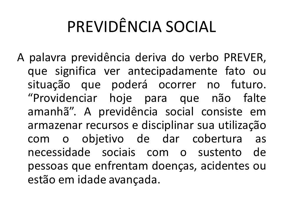 """PREVIDÊNCIA SOCIAL A palavra previdência deriva do verbo PREVER, que significa ver antecipadamente fato ou situação que poderá ocorrer no futuro. """"Pro"""