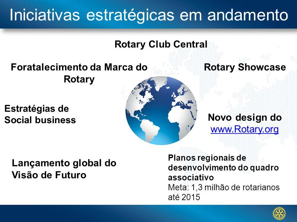Click to edit Master title styleIniciativas estratégicas em andamento Rotary Club Central Foratalecimento da Marca do Rotary Planos regionais de desen