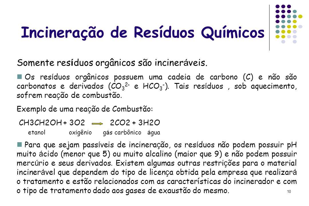 10 Incineração de Resíduos Químicos Somente res í duos orgânicos são inciner á veis. Os res í duos orgânicos possuem uma cadeia de carbono (C) e não s