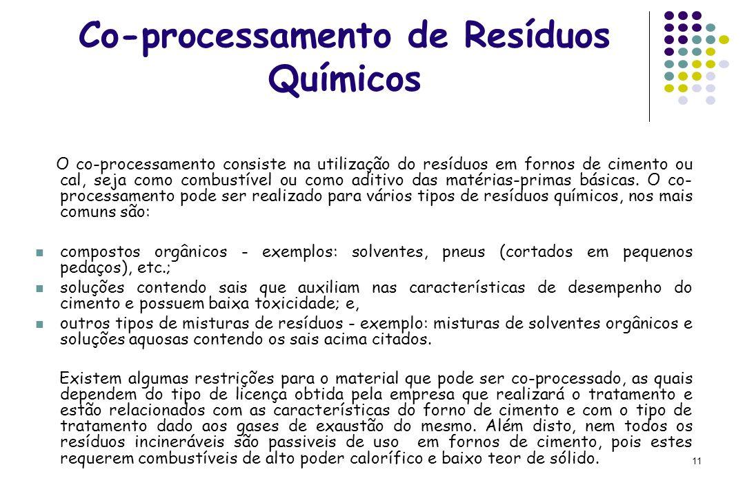 11 Co-processamento de Resíduos Químicos O co-processamento consiste na utilização do resíduos em fornos de cimento ou cal, seja como combustível ou c
