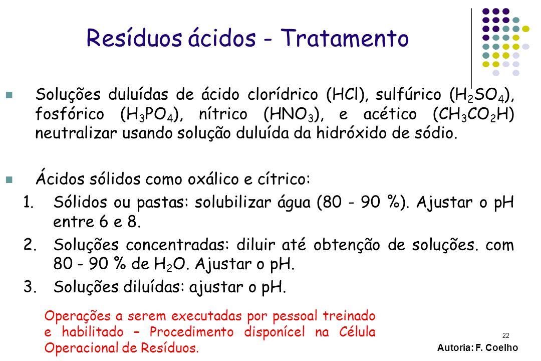 22 Resíduos ácidos - Tratamento Soluções duluídas de ácido clorídrico (HCl), sulfúrico (H 2 SO 4 ), fosfórico (H 3 PO 4 ), nítrico (HNO 3 ), e acético