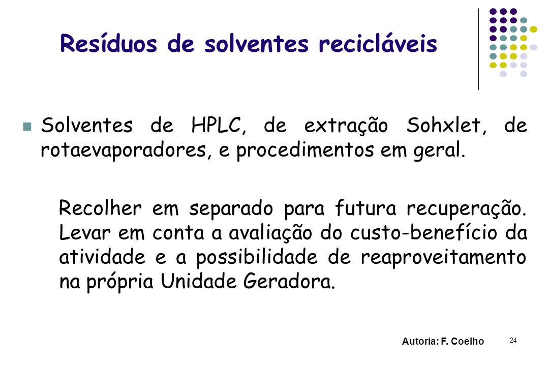 24 Resíduos de solventes recicláveis Solventes de HPLC, de extração Sohxlet, de rotaevaporadores, e procedimentos em geral. Recolher em separado para