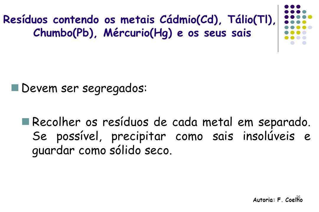 26 Resíduos contendo os metais Cádmio(Cd), Tálio(Tl), Chumbo(Pb), Mércurio(Hg) e os seus sais Devem ser segregados: Recolher os resíduos de cada metal