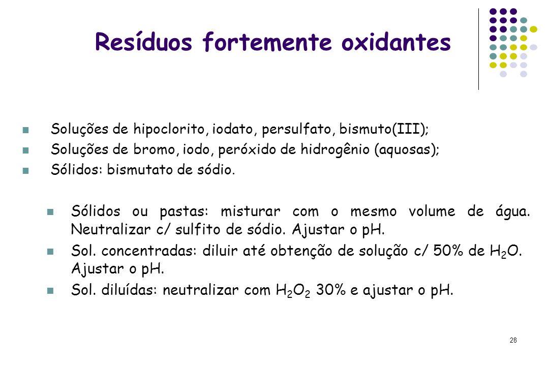 28 Resíduos fortemente oxidantes Soluções de hipoclorito, iodato, persulfato, bismuto(III); Soluções de bromo, iodo, peróxido de hidrogênio (aquosas);