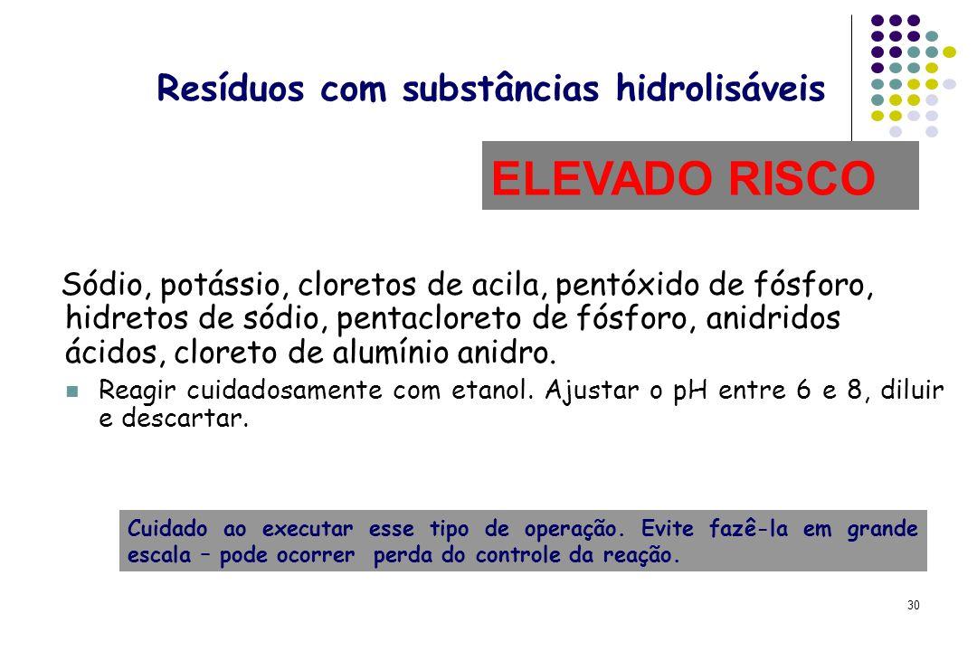 30 Resíduos com substâncias hidrolisáveis Sódio, potássio, cloretos de acila, pentóxido de fósforo, hidretos de sódio, pentacloreto de fósforo, anidri