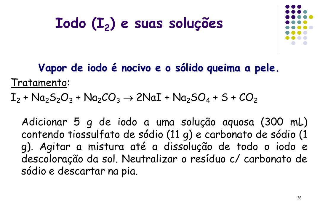 38 Iodo (I 2 ) e suas soluções Vapor de iodo é nocivo e o sólido queima a pele. Tratamento: I 2 + Na 2 S 2 O 3 + Na 2 CO 3  2NaI + Na 2 SO 4 + S + CO