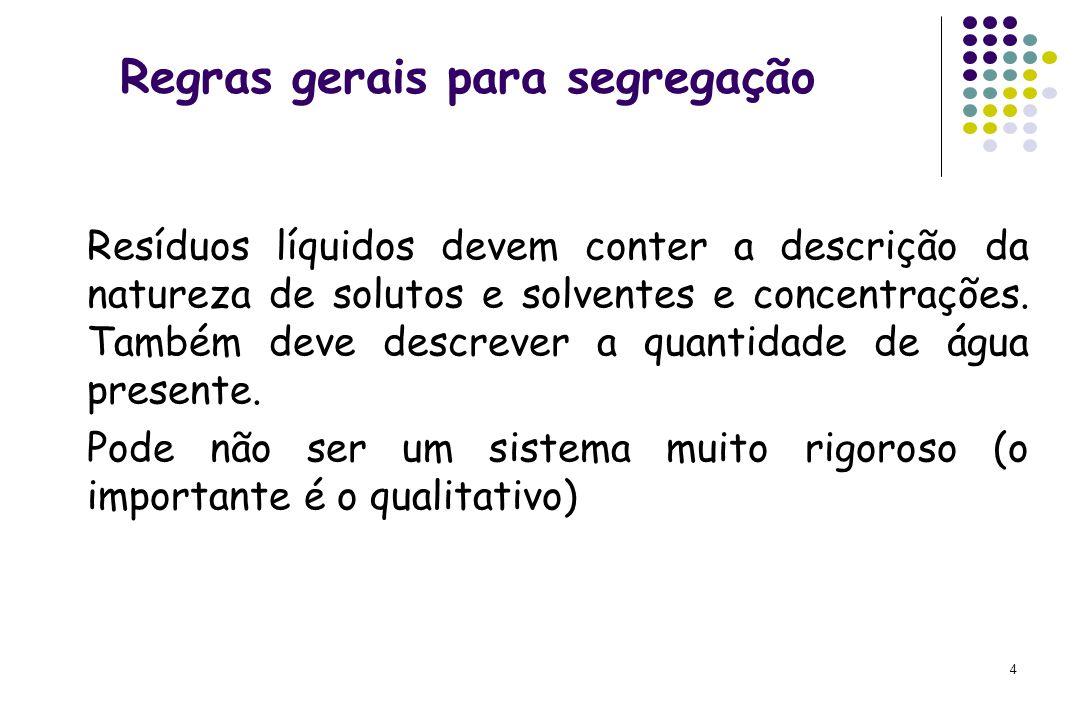 4 Regras gerais para segregação Resíduos líquidos devem conter a descrição da natureza de solutos e solventes e concentrações. Também deve descrever a