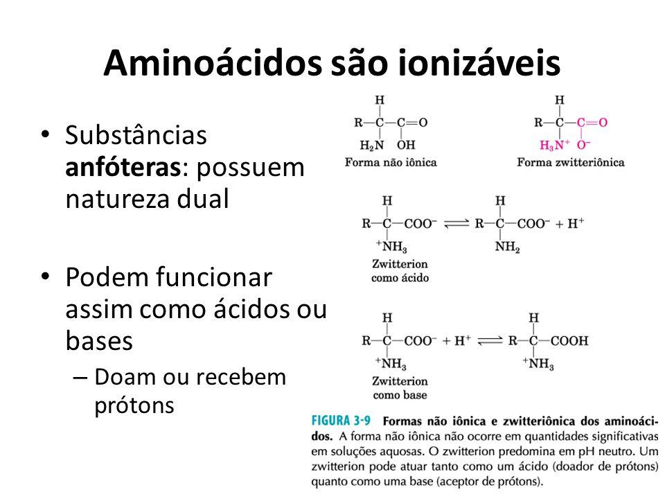 Aminoácidos são ionizáveis Substâncias anfóteras: possuem natureza dual Podem funcionar assim como ácidos ou bases – Doam ou recebem prótons