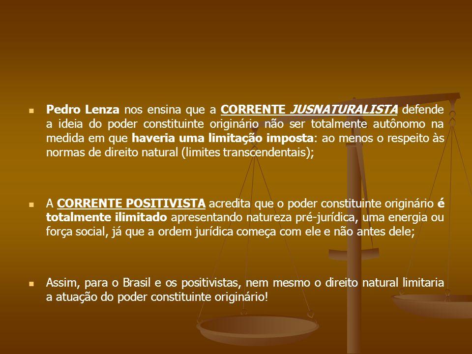 Pedro Lenza nos ensina que a CORRENTE JUSNATURALISTA defende a ideia do poder constituinte originário não ser totalmente autônomo na medida em que haveria uma limitação imposta: ao menos o respeito às normas de direito natural (limites transcendentais); A CORRENTE POSITIVISTA acredita que o poder constituinte originário é totalmente ilimitado apresentando natureza pré-jurídica, uma energia ou força social, já que a ordem jurídica começa com ele e não antes dele; Assim, para o Brasil e os positivistas, nem mesmo o direito natural limitaria a atuação do poder constituinte originário!