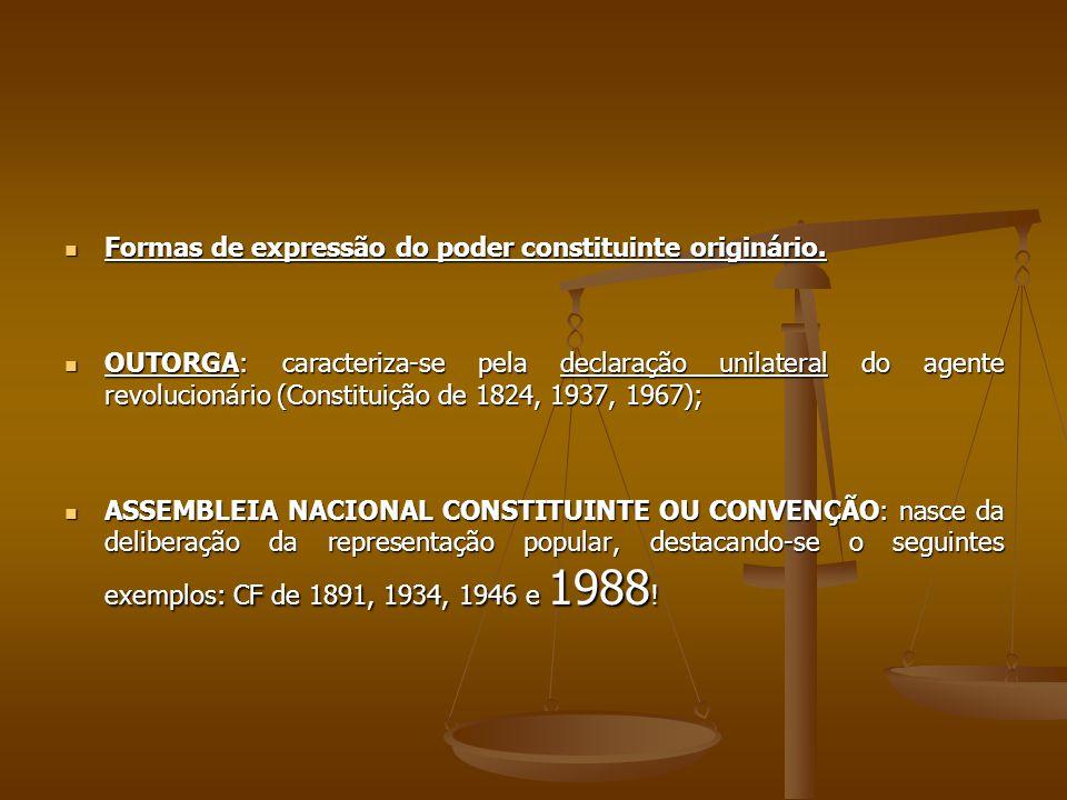 Formas de expressão do poder constituinte originário.
