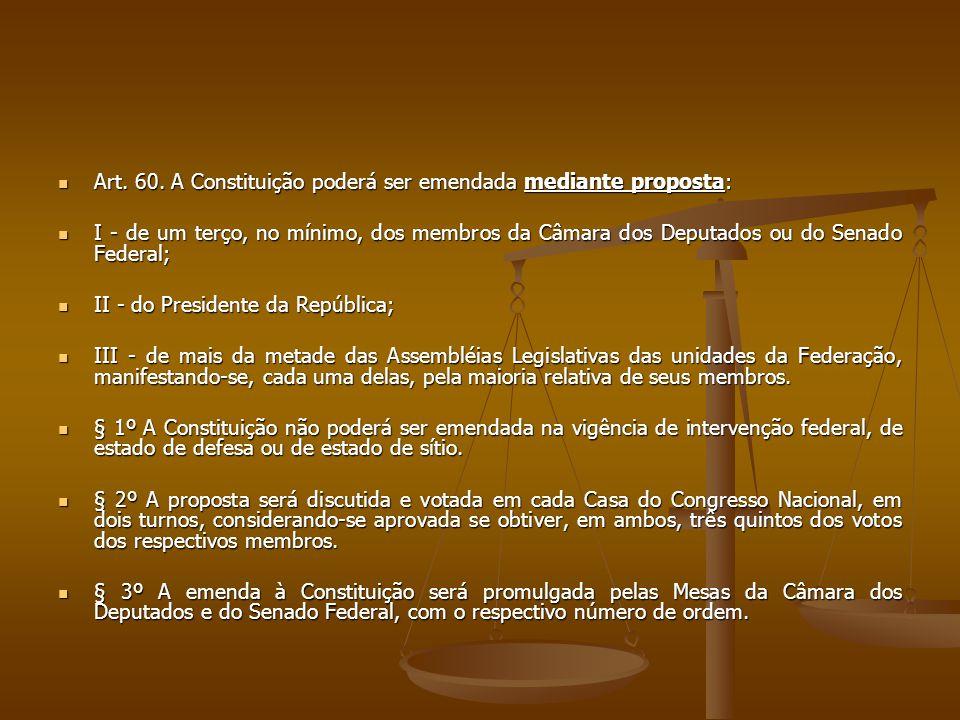 Art. 60. A Constituição poderá ser emendada mediante proposta: Art. 60. A Constituição poderá ser emendada mediante proposta: I - de um terço, no míni