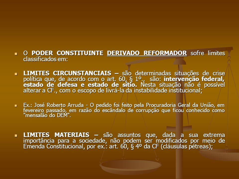 O PODER CONSTITUINTE DERIVADO REFORMADOR sofre limites classificados em: O PODER CONSTITUINTE DERIVADO REFORMADOR sofre limites classificados em: LIMI