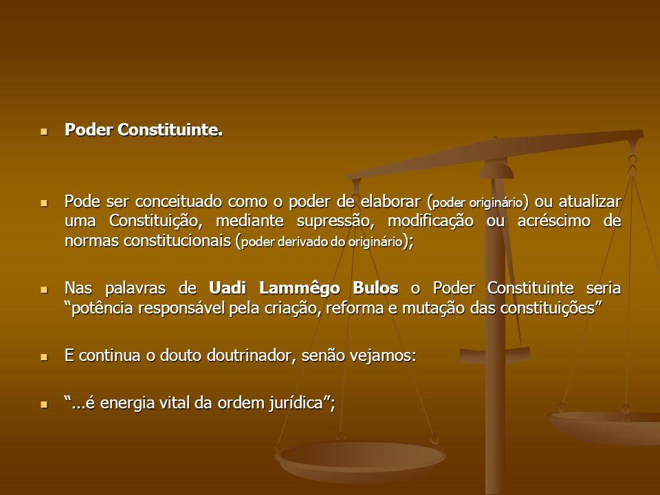 Poder Constituinte. Poder Constituinte. Pode ser conceituado como o poder de elaborar ( poder originário ) ou atualizar uma Constituição, mediante sup