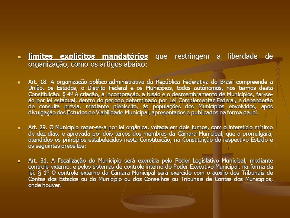 limites explícitos mandatórios que restringem a liberdade de organização, como os artigos abaixo: limites explícitos mandatórios que restringem a liberdade de organização, como os artigos abaixo: Art.