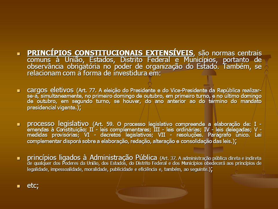 PRINCÍPIOS CONSTITUCIONAIS EXTENSÍVEIS, são normas centrais comuns à União, Estados, Distrito Federal e Municípios, portanto de observância obrigatória no poder de organização do Estado.