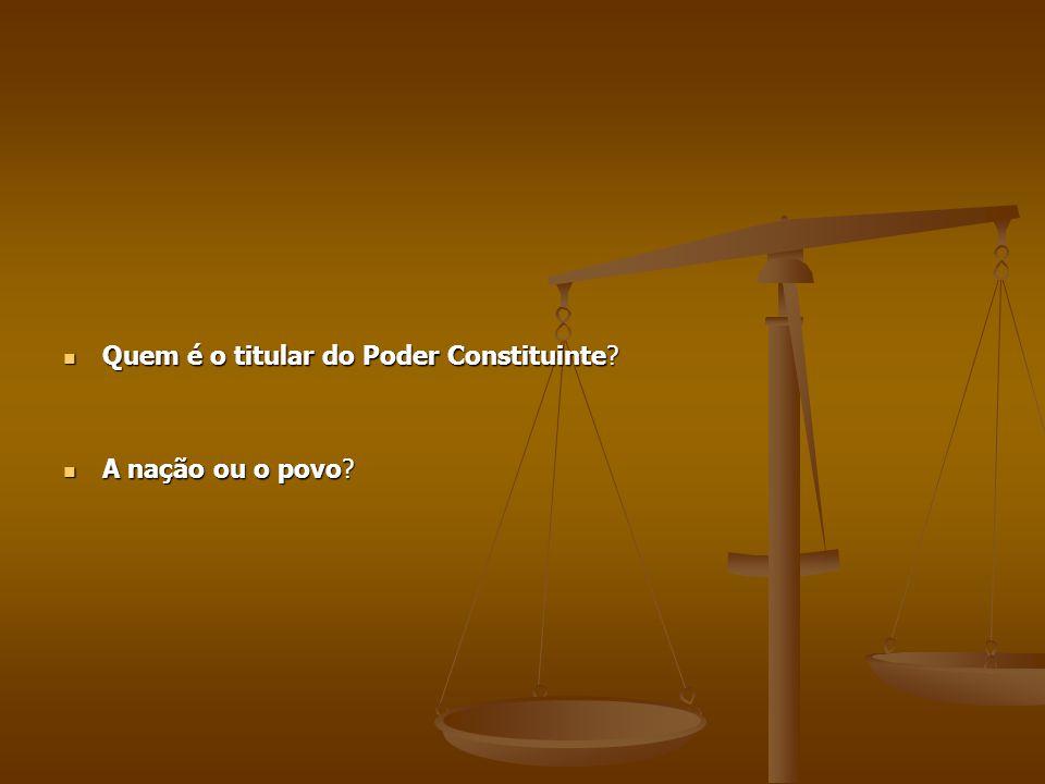 Quem é o titular do Poder Constituinte? Quem é o titular do Poder Constituinte? A nação ou o povo? A nação ou o povo?