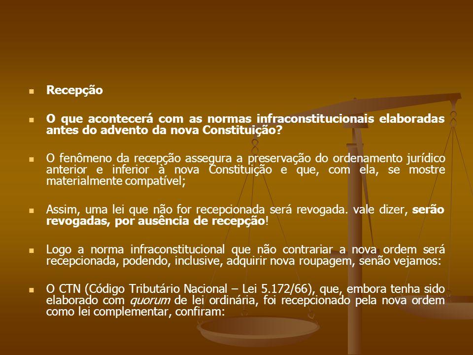 Recepção O que acontecerá com as normas infraconstitucionais elaboradas antes do advento da nova Constituição.