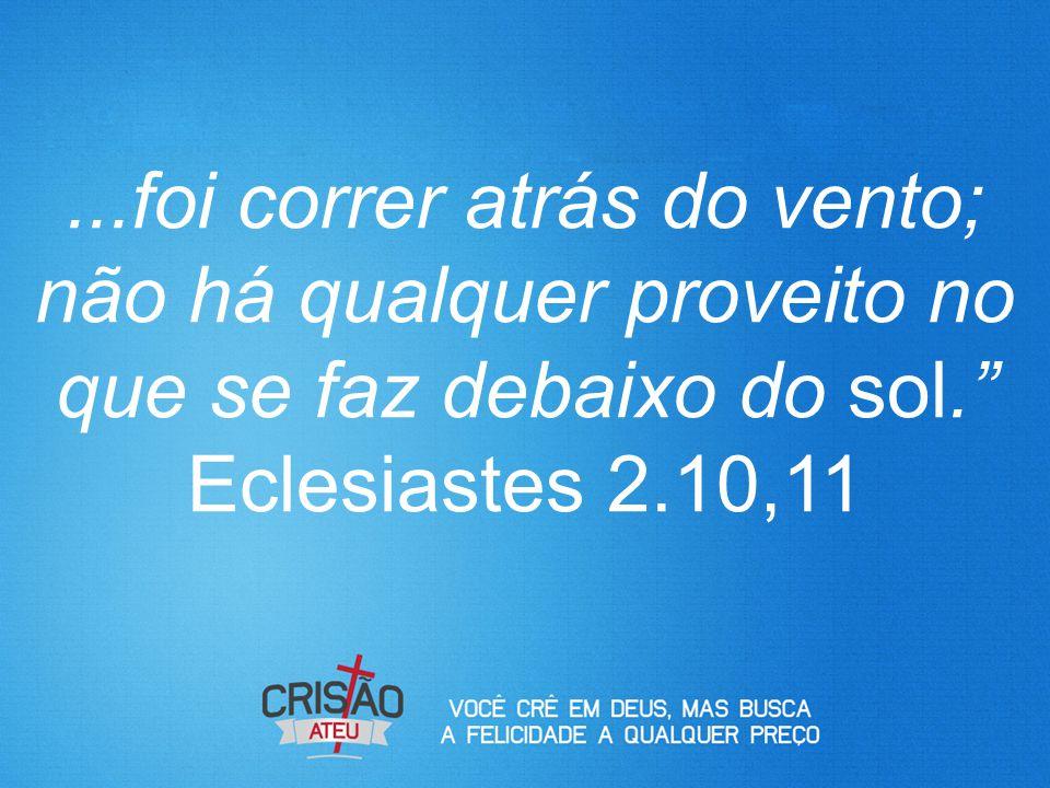 """...foi correr atrás do vento; não há qualquer proveito no que se faz debaixo do sol."""" Eclesiastes 2.10,11"""