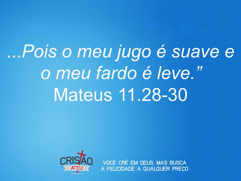 """...Pois o meu jugo é suave e o meu fardo é leve."""" Mateus 11.28-30"""
