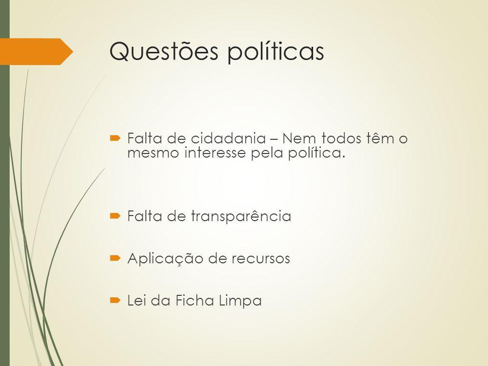 Questões políticas  Falta de cidadania – Nem todos têm o mesmo interesse pela política.  Falta de transparência  Aplicação de recursos  Lei da Fic