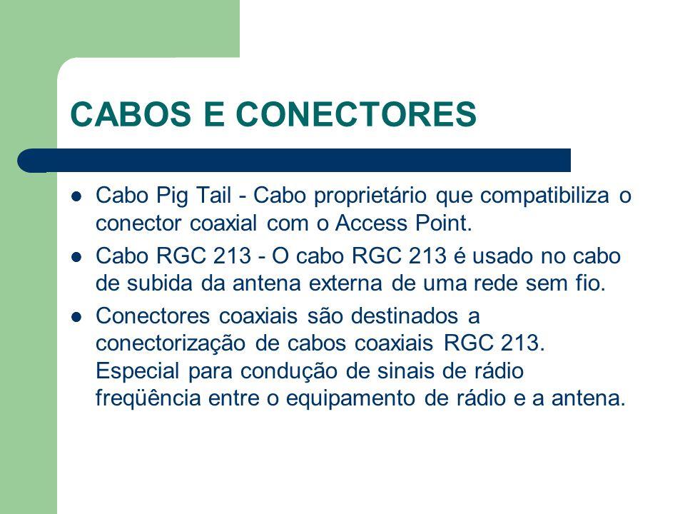 CABOS E CONECTORES Cabo Pig Tail - Cabo proprietário que compatibiliza o conector coaxial com o Access Point. Cabo RGC 213 - O cabo RGC 213 é usado no