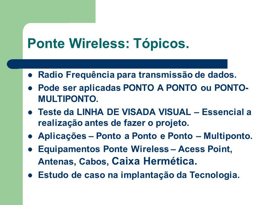 Ponte Wireless: Tópicos. Radio Frequência para transmissão de dados. Pode ser aplicadas PONTO A PONTO ou PONTO- MULTIPONTO. Teste da LINHA DE VISADA V