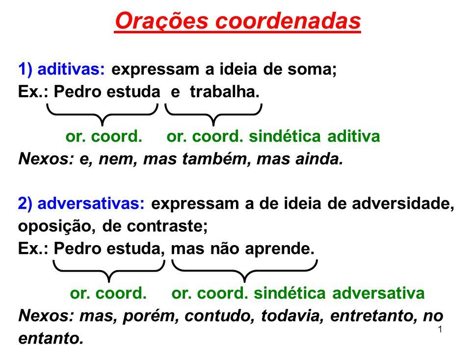 1 Orações coordenadas 1) aditivas: expressam a ideia de soma; Ex.: Pedro estuda e trabalha. or. coord. or. coord. sindética aditiva Nexos: e, nem, mas