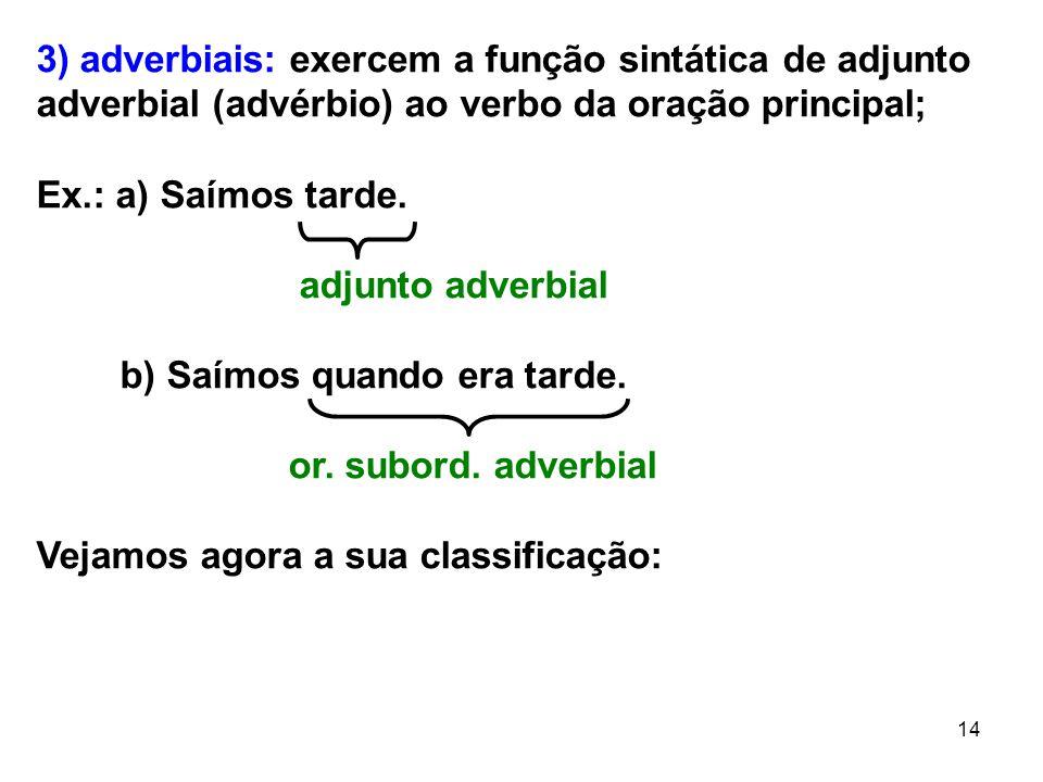 14 3) adverbiais: exercem a função sintática de adjunto adverbial (advérbio) ao verbo da oração principal; Ex.: a) Saímos tarde. adjunto adverbial b)