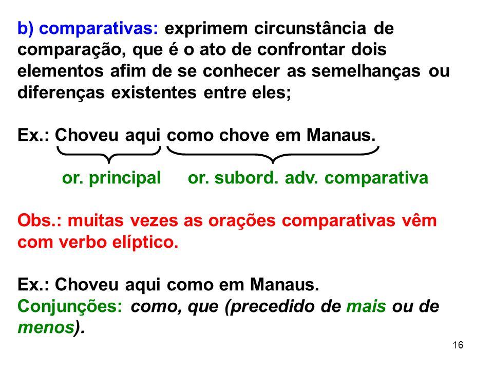 16 b) comparativas: exprimem circunstância de comparação, que é o ato de confrontar dois elementos afim de se conhecer as semelhanças ou diferenças ex