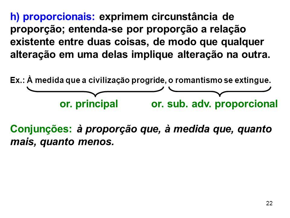 22 h) proporcionais: exprimem circunstância de proporção; entenda-se por proporção a relação existente entre duas coisas, de modo que qualquer alteraç