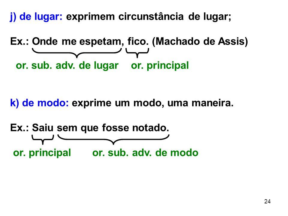 24 j) de lugar: exprimem circunstância de lugar; Ex.: Onde me espetam, fico. (Machado de Assis) or. sub. adv. de lugar or. principal k) de modo: expri