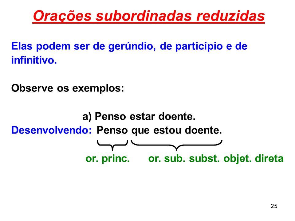 25 Orações subordinadas reduzidas Elas podem ser de gerúndio, de particípio e de infinitivo. Observe os exemplos: a) Penso estar doente. Desenvolvendo